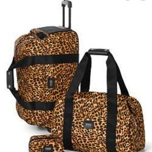PINK Victoria's Secret Leopard Print Luggage Set